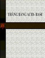 Tài liệu THĂNG BẰNG ACID- BASE doc