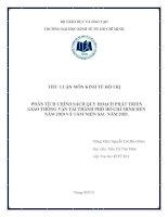 PHÂN TÍCH CHÍNH SÁCH QUY HOẠCH PHÁT TRIỂN GIAO THÔNG vận tải THÀNH PHỐ hồ CHÍ MINH đến năm 2020 và tầm NHÌN SAU năm 2020