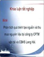 Slide phân tích quá trình tạo nguồn và thu mua nguyên liệu của công ty CPTM vận tải và CBHS long hải