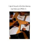 Tài liệu Lập kế hoạch triển lãm thương mại hiệu quả (Phần 1) doc