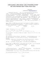 Tài liệu VẬN DỤNG LINH HOẠT CÁC PHƯƠNG PHÁP ĐỂ GIẢI NHANH BÀI TOÁN HOÁ HỌC pdf