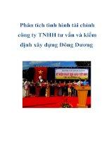Tài liệu Phân tích tình hình tài chính công ty TNHH tư vấn và kiểm định xây dựng đông dương doc