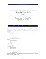 Tài liệu Security Essentials Day 2 Threat and the Need for Defense in Depth docx