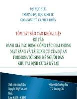 Slide ĐÁNH GIÁ tác ĐỘNG CÔNG tác GIẢI PHÓNG mặt BẰNG và tái ĐỊNH cư của dự án FORMOSA tới SINH kế NGƯỜI dân KHU tái ĐỊNH cư xã kỳ lợi