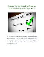 Tài liệu Thông qua việc giảm thiểu gây phiền phức cho khách hàng để nâng cao chất lượng dịch vụ pdf