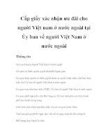 Tài liệu Cấp giấy xác nhận ưu đãi cho người Việt nam ở nước ngoài tại Ủy ban về người Việt Nam ở nước ngoài ppt