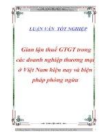 """Tài liệu Luận văn tốt nghiệp """"Gian lận thuế GTGT trong các doanh nghiệp thương mại ở Việt Nam hiện nay và biện pháp phòng ngừa"""" ppt"""