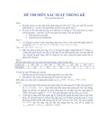 Tài liệu Tuyển tập đề thi xác suất thống kê_Đề số 01 pdf