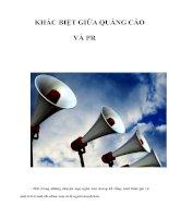 Tài liệu KHÁC BIỆT GIỮA QUẢNG CÁO VÀ PR pdf