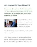 Tài liệu Bán hàng qua điện thoại: Dễ hay khó pdf