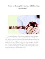 Tài liệu Quản trị thương hiệu hướng tới khách hàng (Phần cuối) docx