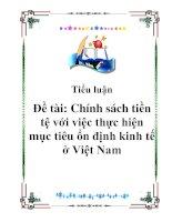 Tài liệu Tiểu luận: Chính sách tiền tệ với việc thực hiện mục tiêu ổn đinh kinh tế ở Việt Nam doc