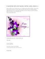 Bài giảng CÁCH NÓI XIN LỖI TRONG TIẾNG ANH