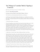 Tài liệu Ten Things to Consider Before Signing a Contract - Mười điều cần xem xét trước khi ký kết một hợp đồng pptx