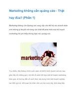 Tài liệu Marketing không cần quảng cáo - Thật hay đùa? (Phần 1) pdf