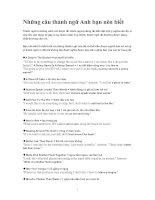 Những câu thành ngữ Anh bạn nên biết