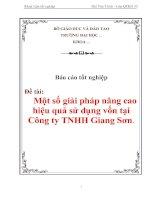"""Tài liệu Luận văn tốt nghiệp """"Một số giải pháp nâng cao hiệu quả sử dụng vốn tại Công ty TNHH Giang Sơn"""" doc"""