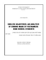 Luận văn english adjectives an analysis of errors made by vietnamese high school students
