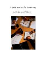 Tài liệu Lập kế hoạch triển lãm thương mại hiệu quả (Phần 2) pdf