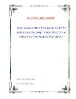 """Tài liệu Luận văn tốt nghiệp """"Một số giải pháp xây dựng và phát triển thương hiệu cho Công ty Cổ phần thương mại Khánh Trang"""" pdf"""