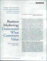 Tài liệu Business Marketing: Understand What Customers Value pptx