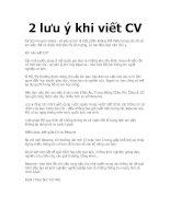 Tài liệu 2 lưu ý khi viết CV doc