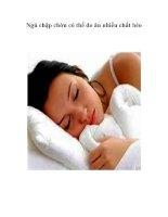 Tài liệu Ngủ chập chờn có thể do ăn nhiều chất béo docx