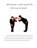 Tài liệu Biết lắng nghe - một kỹ năng tối cần thiết trong kinh doanh docx