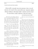 Tìm hiểu nghệ thuật hành văn và sử dụng từ ngữ của nguyễn du trong một đoạn trích truyện kiều được giảng dạy ở trường phổ thông trung học