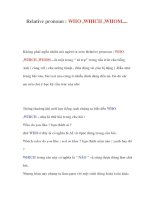 Tài liệu Relative pronoun : WHO ,WHICH ,WHOM.... pdf
