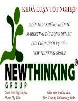 Slide phân tích những nhân tố marketing tác động đến sự lựa chọn dịch vụ của new thinking group đối với nhóm khách hàng là sinh viên