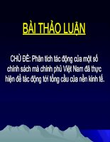 Tài liệu Bài thảo luận chủ đề: Phân tích tác động của một số chính sách mà chính phủ Việt Nam đã thực hiện để tác động tới tổng cầu của nền kinh tế pdf