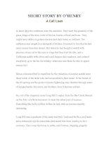 Tài liệu LUYỆN ĐỌC TIẾNG ANH QUA TÁC PHẨM VĂN HỌC-SHORT STORY BY O'HENRY -A Call Loan docx