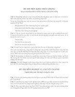 ĐỀ THI môn KIẾN THỨC CHUNG NGẠCH KIỂM SOÁT VIÊN THUẾ, CHUYÊN VIÊN ( công chức BHXH)