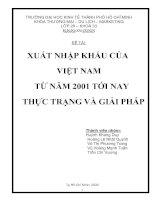 Tài liệu TIỄU LUẬN: XUẤT NHẬP KHẨU CỦA VIỆT NAM TỪ NĂM 2001 TỚI NAY THỰC TRẠNG VÀ GIẢI PHÁP pdf