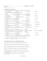 Bài giảng 15'''' TEST (unit 9,10) + key
