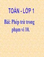 Bài soạn PHÉP TRỪ TRONG PHẠM VI 10