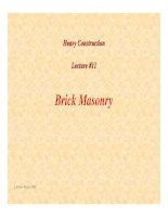 Tài liệu Heavy Construction Lecture #11 - Brick Masonry doc