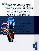 Slide NÂNG CAO NĂNG lực CẠNH TRANH của NGÂN HÀNG THƯƠNG mại cổ PHẦN QUỐC tế VIỆT NAM(VIB)  CHI NHÁNH HUẾ