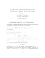 Introduction to Financial Econometrics Hypothesis Testing in the Market Model