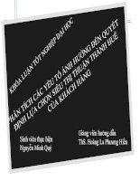 Slide PHÂN TÍCH các yếu tố ẢNH HƯỞNG đến QUYẾT ĐỊNH lựa CHỌN SIÊU THỊ THUẬN THÀNH HUẾ của KHÁCH HÀNG