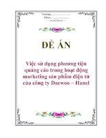 """Tài liệu Đề án """"Việc sử dụng phương tiện quảng cáo trong hoạt động marketing sản phẩm điện tử của công ty Daewoo – Hanel"""" pdf"""