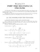 Tài liệu Bài giảng số 12: Phép tính tích phân và ứng dụng pdf