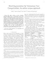 Tài liệu Word Segmentation for Vietnamese Text Categorization: An online corpus approach pptx