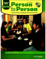Person to person : Communicative speaking and listening skills.Starter book - Third Edition/Jack C. Richards