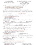 ĐỀ THI THỬ ĐẠI HỌC, CAO ĐẲNG LẦN 2 NĂM HỌC 2012-2013  TRƯỜNG THPT NGUYỄN HUỆ Môn thi: SINH HỌC – Khối B