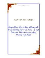 """Tài liệu Luận văn tốt nghiệp """"Hoạt động Marketing nhằm phát triển đường bay Việt Nam – Nhật Bản của Tổng công ty hàng không Việt Nam"""" pptx"""
