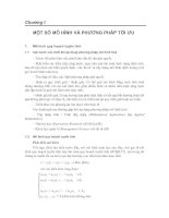 Tài liệu TOÁN ỨNG DỤNG- Chương I MỘT SỐ MÔ HÌNH VÀ PHƯƠNG PHÁP TỐI ƯU docx