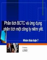 Tài liệu Bài thảo luận: Phân tích BCTB và ứng dụng phân tích một công ty niêm yết doc