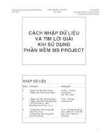 Tài liệu CÁCH NHẬP DỮ LIỆU VÀ TÌM LỜI GIẢI KHI SỬ DỤNG PHẦN MỀM MS PROJECT pdf